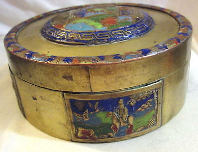 "CHINA ASIAN CHINESE c1900's BRASS-ENAMEL ROUND COVERED BOX 5"" DIAM x 2 1/4"" TALL"