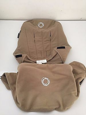Bundle Bugaboo Cameleon Stroller Canopy Hood Cover Seat Liner Sunshade Tan EUC