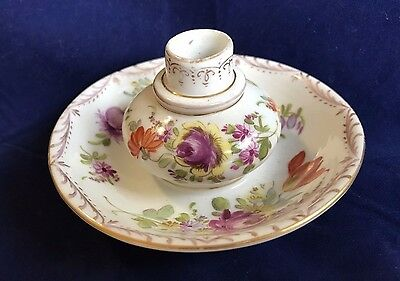 Antique Dresden Germany Porcelain Chamberstick Candle Holder Or Inkwell