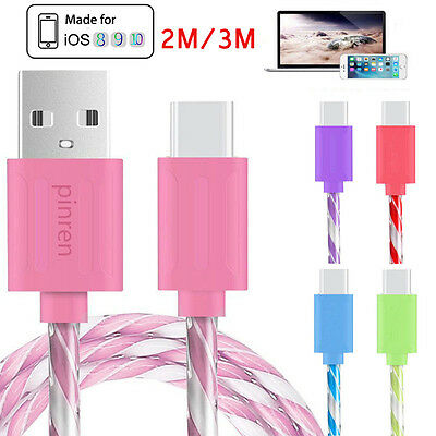 6-10FT Colorful Crystal Rapid Charging Charger Cable For iPhone 7 iPad Pro 10.5