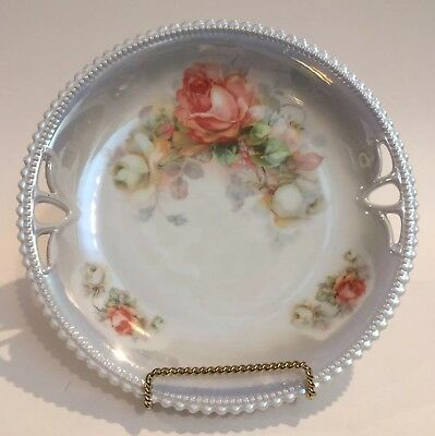 PK Silesia Antique Roses Plate Cut-out Handles Luster Beaded Scalloped Edge NICE