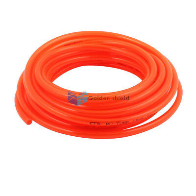 Fleaxible PU Tube Pneumatic Polyurethane Hose Orange Red10mm x 6.5mm 10M Length