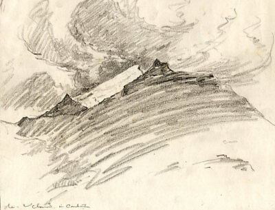 Marcus Adams - Early 20th Century Graphite Drawing, Mountain View