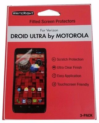 NEW Writeright Droid Ultra by Motorola fitted screen protectors (3 Pack)