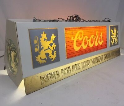 "Vintage 38"" Coors Beer Hanging Pool Table Light Lamp Mancave"