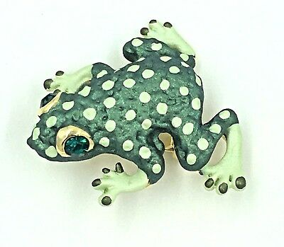 Green Spotted Frog Pin Toad Swarovski Crystal Jeweled By Rucinni New Brooch