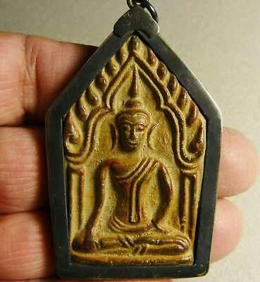 Antiqued BUDDHA VOTIVE in Handcrafted Silver Case Amulet Thailand Good Luck
