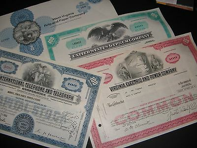 Lot Of Vintage Stock Certificates
