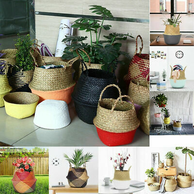 Seagrass Belly Basket Plant Pot Laundry Storage Holder Organizer Bag Home Decor