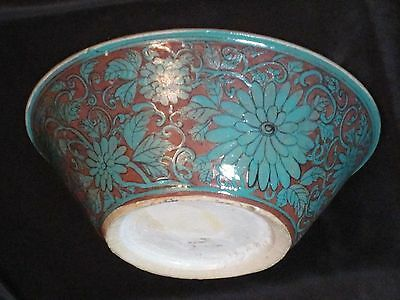 Antique Chinese Hand Painted Coral Bowl