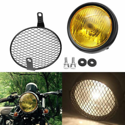 """6.5"""" Motorcycle Headlight Grill Cover Mesh Mask Side Mount for Harley Cafe Race"""