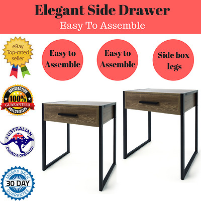 2 x Rustic Industrial style desk  Side Table Bedside Draw Modern Storage Home