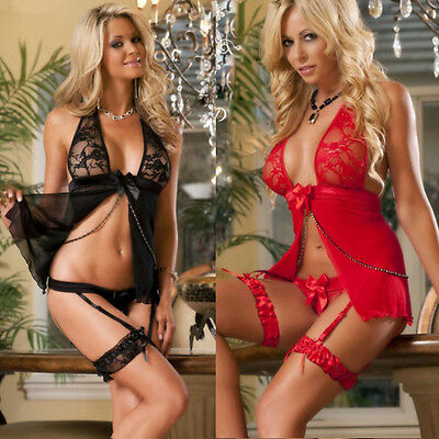 4pcs Womens Sexy/Sissy Lingerie Lace Babydoll G-String Thong Underwear Nightwear