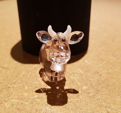 Genuine Swarovski limited edition pink cow with cowbell crystal figurine