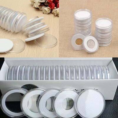 20x 38mm Transparent Round Coin Holder Portable Storage Case Container Display