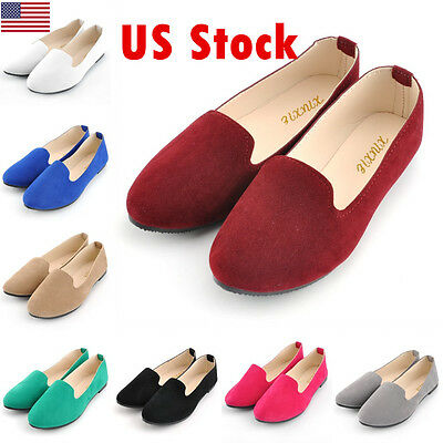 6a39e87981f New Women Lady Boat Shoes Casual Flat Ballet Slip On Flats Loafers Single  Shoes