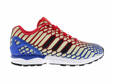 1204ec88ae079 ADIDAS Mens ZX Flux Xeno Reflective Glow Running Shoes Blue Red AQ4533 Men s  10