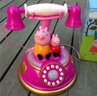 Pink Peppa Pig Phone Toys Electronic Interactive Learning  Gift  Music+Lights