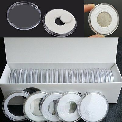 20pcs Clear Round Coin Holders 46mm Portable Storage Case Box Container Display