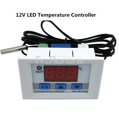 DC 12V Digital LED Temperature Thermostat Controller 10A  Switch Probe White