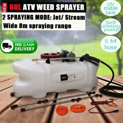 Weed Chemical Sprayer 60L Tank Boom Spray 12v Pump Wand Garden Quad Bike ATV New