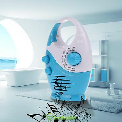 Mini FM AM Waterproof Shower Music Hanging Radio For Bathroom Bath Cabin Blue