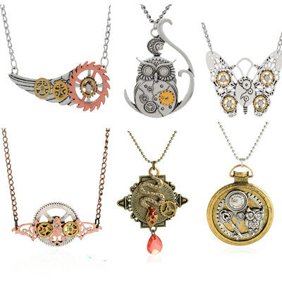 Steampunk Necklace Hip-hop Gears Mechanical Charms Pendants Jewelry Animal Heart