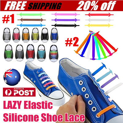 Lazy All Sneakers Fit Unisex No Tie Shoelaces Elastic Silicone Shoe Lace AU OK