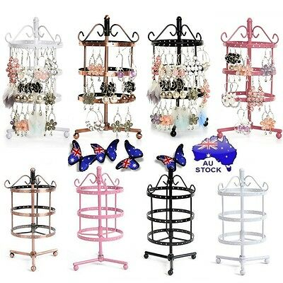 72 Holes Earrings Necklaces Jewelry Display Rack Metal Stand Holder Storage Show