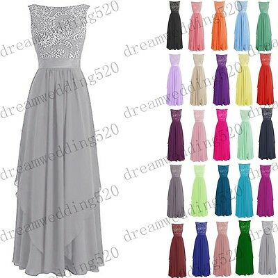 New Long Chiffon Formal Gown Party Cocktail Evening Bridesmaid Dress Size 6-22
