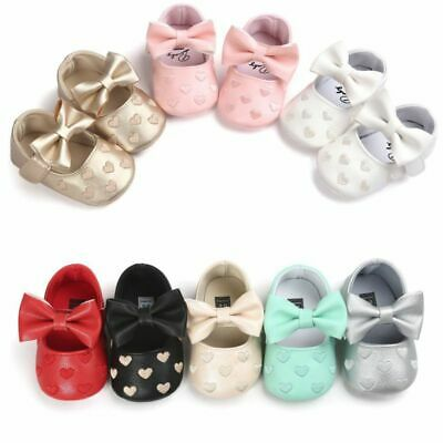 US Newborn Baby Girl Soft Crib Shoes Infants Anti-slip Sneaker Prewalker 0-18M