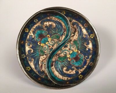 Antique Chinese Silver And Enamel Incense Bowl