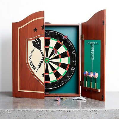 Professional Dart Board Set Cabinet Complete Darts Set - 6 x Darts Fathers Day