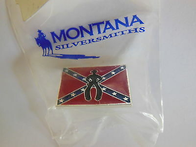 New Old Stock 2000 Montana Silversmiths Enamel COWBOY UP Tie Tack Hat Lapel Pin