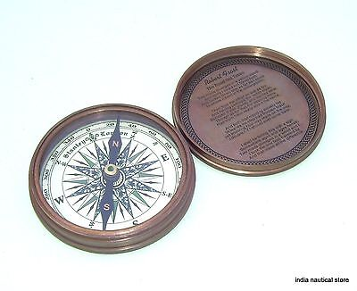 "2"" Nautical Brass Vintage Style Poem Engraved Marine Compass Gift Item"