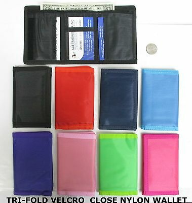 "Lot Of 2--Cute Velcro Closure  Tri-Fold Nylon Wallet,3.5."" X 5"" 1 Zipper-Mc7444"