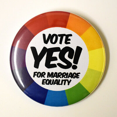 "VOTE YES for Marriage Equality Badge Button Pin 2.25"" equal love gay marriage"