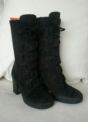 Vintage 90s Victorian Lace Up Suede Chunky Black Calf Length Boots Size 39 UK 6