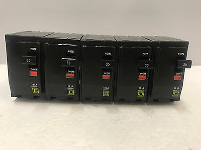 Qo230 Lot Of 5 Square-D 2 Pole 30 Amp Plug In Breaker