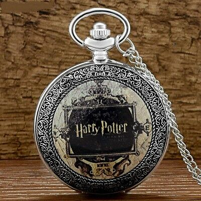 Harry Potter Old Style Silver Pocket Watch Necklace Pendant  FREE Gift XMas Idea