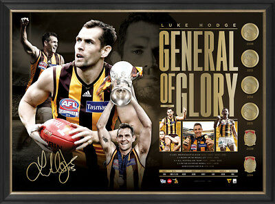 Luke Hodge Signed Hawthorn General of Glory Retirement AFL Official Print Framed
