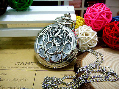 Gothic Dragon Steampunk Silver Pocket Watch Game of Thrones + Necklace Pendant