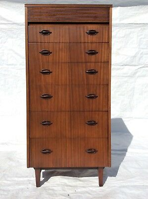 Vintage Mid Century Danish Style Afromosia Tallboy Chest of Drawers
