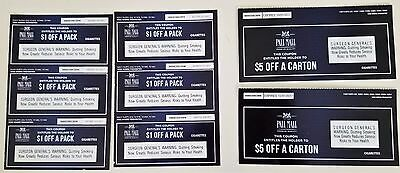 Pall Mall coupon - total value $21 - (2) $5 off carton (6) $1 off pack exp 10-31