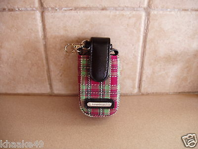 Longaberger Holiday Plaid Cell Phone Wristlet Clip-On Carry Case Nip * Free Ship