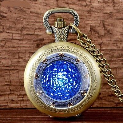 Blue Star Gate Bronze Mini Pocket Watch Pendant Necklace - Great XMas Gift Idea