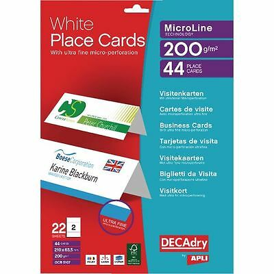 Decadry Perforated Place Cards 200gsm White (Pack of 44) OCB5107 [LX19191]