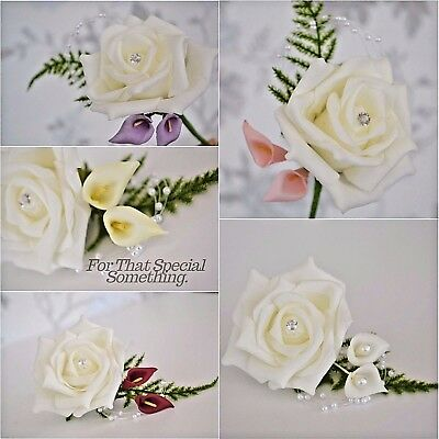 Wedding rose buttonhole corsage flower white ivory callalily pearl fern leaf