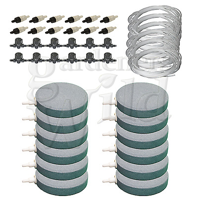 "4"" 10cm AIR STONE KIT 12x DIFFUSER +VALVES +NON RETURN 60m PIPE hydroponic pond"