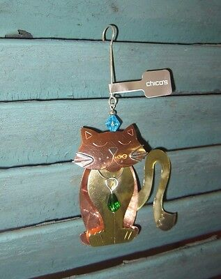 Nwt Chico's Copper Gold Mixed Metal Chloe Cat Christmas Ornament #570157210
